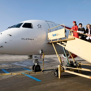 "Austrian Embraer Jet OE-LWL Christened as the ""City of Prague"""